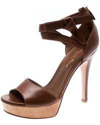 Gianvito Rossi Brown Leather Ankle Strap Platform Sandals Size 36
