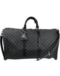 Louis Vuitton Damier Graphite Canvas Keepall Bandouliere 55 Bag - Gray