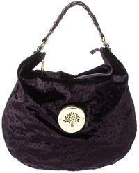 Mulberry Dark Plum Ostrich Embossed Velvet Daria Hobo - Purple