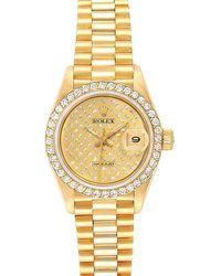 Rolex - Champagne Diamonds 18k Yellow Gold President Datejust 69138 Women's Wristwatch 26 Mm - Lyst