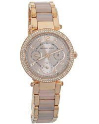 Michael Kors Rose Gold Tone Stainless Steel Parker Mini Mk6110 Wristwatch - Pink