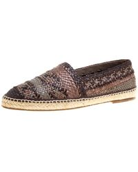 Dolce & Gabbana Bicolor Braided Leather Espadrilles - Brown