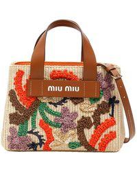 Miu Miu - Brown Raffia Embroidered Tote Bag - Lyst