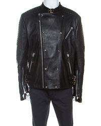 Philipp Plein Black Leather Detail Artemy Biker Jacket