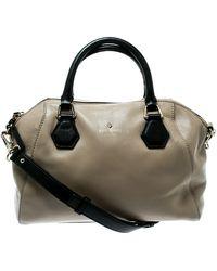 Kate Spade Beige/black Leather Catherine Street Top Handle Bag - Natural