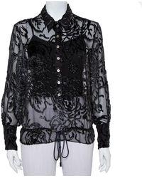 Dior Christian Vintage Black Devore Waist Tie Detail Button Front Shirt