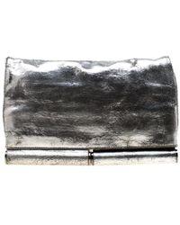 Diane von Furstenberg Silver Metallic Leather Bonnie Foldover Clutch - Gray