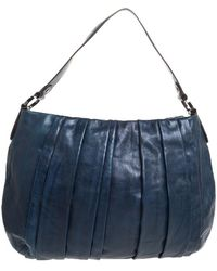 DKNY Navy Blue Pleated Leather Floral Chain Detail Hobo