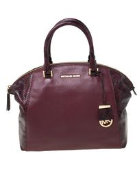 MICHAEL Michael Kors Michael Kors Burgundy Leather And Python Embossed Riley Satchel - Purple