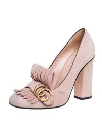 Gucci Pink Suede GG Marmont Fringe Detail Block Heel Pumps