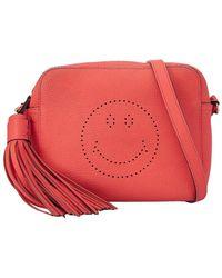 Anya Hindmarch Orange Leather Smiley Crossbody Bag