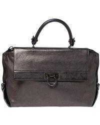 Ferragamo Metallic Leather Sofia Top Handle Bag