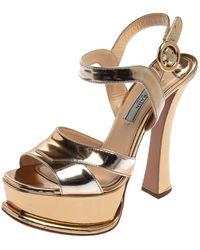 Prada Metallic Gold Leather Ankle Strap Platform Sandals