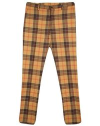Etro Tan Brown Plaid Checked Wool Cuba Slim Fit Trousers L