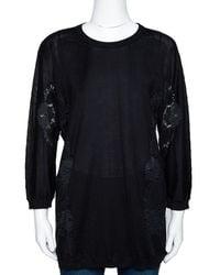 Dolce & Gabbana Black Cashmere Silk Lace Trim Long Sleeve Top