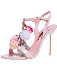 Sophia Webster Pink Patent Leather Layla Pom Pom Embellished T Strap Sandals