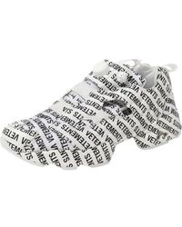 Vetements X Reebok White/black Monogram Nylon And Fabric Instapump Fury Sneakers