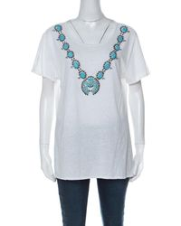 Tory Burch White Cotton Turquoise Bead Embellished T Shirt Xl