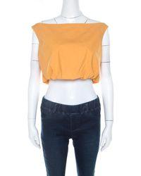 Ferragamo Orange Cotton Bateau Neck Back Tie Up Detail Crop Top M