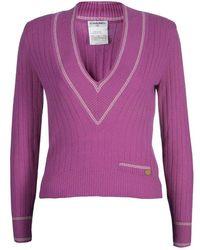 Chanel Pink V Neck Cashmere Jumper Xs