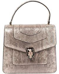 BVLGARI Metallic Pink Karung Serpenti Forever Top Handle Bag