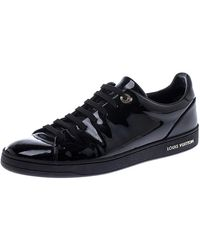 Louis Vuitton Black Patent Leather Frontrow Low Top Lace Up Trainers Size 39.5