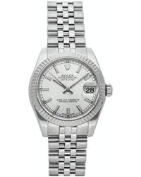 Rolex Silver 18k White Gold And Stainless Steel Datejust 178274 Wristwatch 31 Mm - Metallic