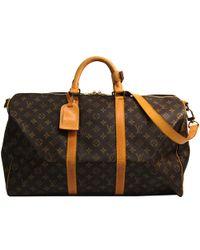 Louis Vuitton Monogram Canvas Keepall Bandouliere 55 Bag - Brown