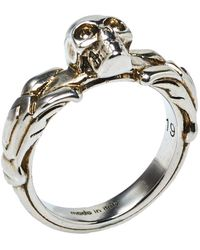 Alexander McQueen Antique Silver Textured Skull Ring It 19 - Metallic