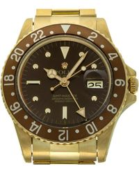 Rolex Brown 18k Yellow Gold Gmt Master 16758 Wristwatch 40 Mm