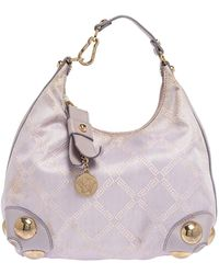 Versace Lilac Signature Canvas And Leather Small Studded Hobo - Purple