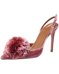 Aquazzura Pink Velvet Powder Puff Pointed Toe Slingback Sandals