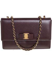 Ferragamo Burgundy Saffiano Leather Ginny Shoulder Bag - Purple