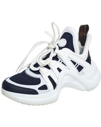 Louis Vuitton Navy Blue/white Mesh And Leather Archlight Low Top Trainers