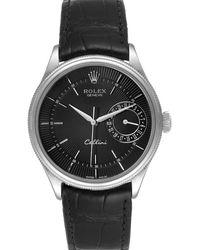 Rolex Black 18k White Gold Cellini Date Automatic 50519 Wristwatch 39 Mm