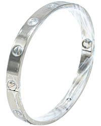 Cartier Love 4 Diamonds 18k White Gold 4 Bracelet Size 17 - Metallic