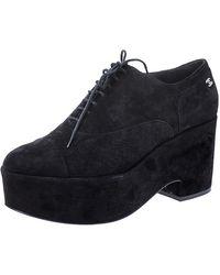 Chanel - Black Suede Cc Lace Platform Oxfords - Lyst