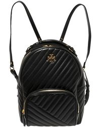 Tory Burch Black Quilted Leather Kira Backpack
