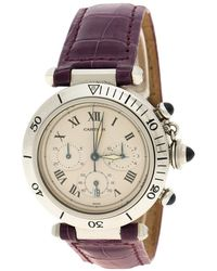 Cartier White Stainless Steel Pasha De 1050 Women's Wristwatch With Alligator Strap 38 Mm - Purple