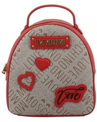 Moschino - Love Two Tone Signature Fabric And Faux Leather Backpack - Lyst