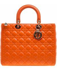 Dior - Lady Orange Leather Handbag - Lyst