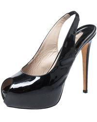 Le Silla Black Patent Leather Peep Toe Slingback Platform Sandals