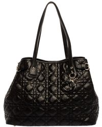 Dior - Black Cannage Coated Canvas Small Panarea Tote - Lyst