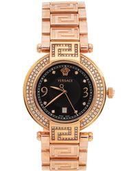 Versace Black Rose Gold Plated Stainless Steel Diamond Reve 68q Wristwatch 35 Mm - Metallic