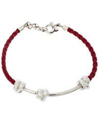 Ferragamo Knot Motif Silver Woven Red Leather Bracelet