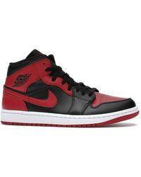 Nike Jordan 1 Mid Banned Sneakers - Red