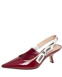 Dior Burgundy Patent Leather J'a Slingback Court Shoes - Multicolour
