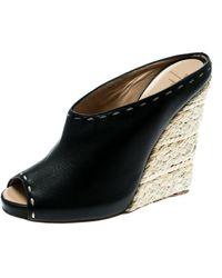 Giuseppe Zanotti Black Leather Espadrille Wedge Peep Toe Mules