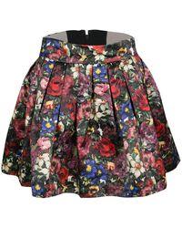 Alice + Olivia Multicolour Floral Print Pleated Fizer Satin Mini Skirt