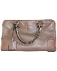Loewe Taupe Leather Amazona 36 Satchel Bag - Brown